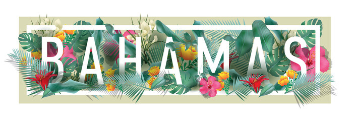 vector floral framed typographic BAHAMAS city artwork Wall mural