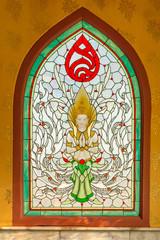 Angel in stain glass. Thai art window. North Thailand