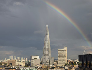 A rainbow is seen over the Shard building in central London
