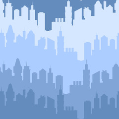 Modern city silhouette seamless pattern