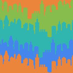 Modern city silhouette seamless pattern