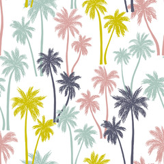 Seamless vector pattern with palm trees