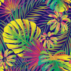 vector seamless beautiful artistic bright tropical pattern with monstera leaf, frond, split leaf, philodendron, summer beach fun, colorful original stylish floral background print, fantastic forest