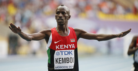 Kemboi of Kenya celebrates his victory in the men's 3000 metres steeplechase final of the IAAF World Athletics Championships at the Luzhniki Stadium in Moscow