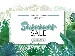 Summer Sale banner, poster. Realistic tropical palm leaves, paradise. Beautiful vector floral jungle summer background