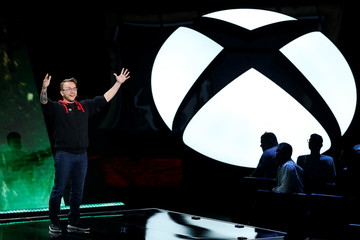 Damien Monnier speaks at the Microsoft Xbox E3 2016 media briefing in Los Angeles