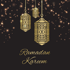 Ramadan Kareem greeting card with fanous (Ramadan lantern) and stars
