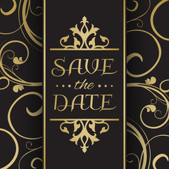 Wedding invitation in black and gold color