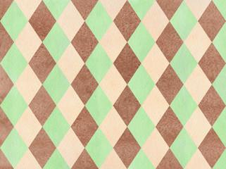 Watercolor diamond pattern.