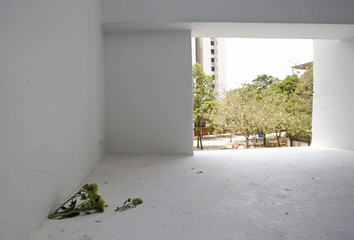 Chrysanthemum flowers are seen, at the place where residents say the body of Autumn Radtke, chief executive of First Meta Pte Ltd, was found, on the second floor of a public housing estate in Singapore