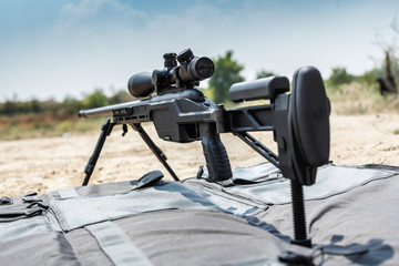 Sniper rifle on bipods