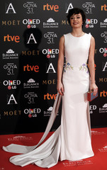 Castillo poses on the red carpet before the Spanish Film Academy's Goya Awards ceremony in Madrid