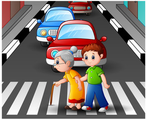 Cartoon boy helps grandma crossing the street
