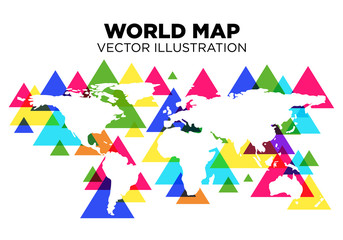 World Map Vector illustration with Colorful Triangle pattern