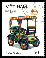 Postage stamp.  Car Vis a Vis.