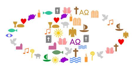Auge aus bunten, christlichen Symbolen