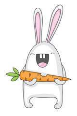 Cartoon bunny with carrot