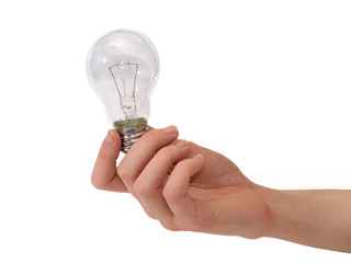 Electric lamp in female hand on a white background