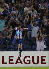 Porto's Falcao celebrates his goal against Spartak Moscow during their Europa League quarter-final first leg soccer match at Dragao stadium in Porto