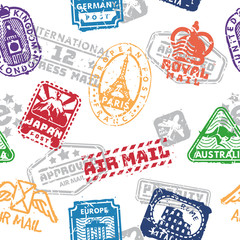 Vector set of vintage postage mail stamps isolated seamless pattern