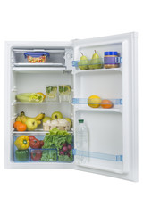 Open fridge full of fresh fruits and vegetables