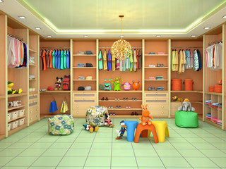 Bright children's dressing room with toys. 3d illustration