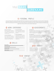Creative simple cv template with grey plus signs in footer.