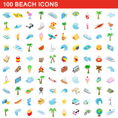 100 beach icons set, isometric 3d style