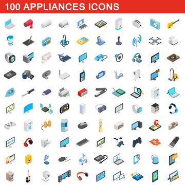 100 appliances icons set, isometric 3d style