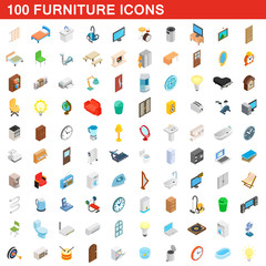 100 furniture icons set, isometric 3d style