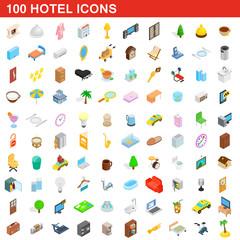 100 hotel icons set, isometric 3d style