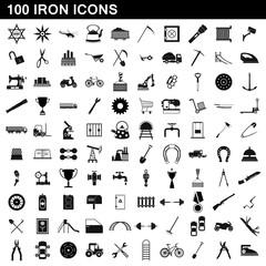 100 iron icons set, simple style