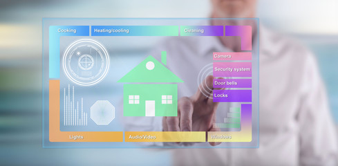 Man touching a smart home concept on a touch screen
