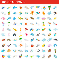 100 sea icons set, isometric 3d style