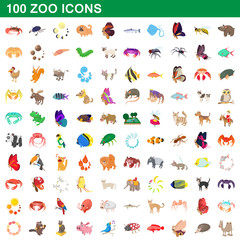 100 zoo icons set, cartoon style