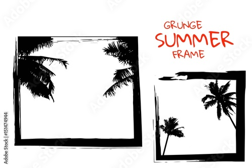 Square Frames In Grunge Style With Palm Trees Beautiful Tropical