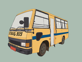 school bus in urban city , sketch vector.