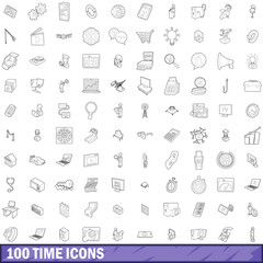 100 time icons set, outline style