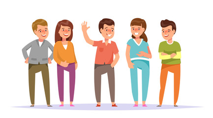 Vector illustration group smiling young people friends standing colorful clothes isolated white background. Cartoon style