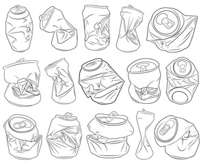 Set of different crushed cans isolated on white