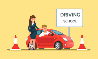 Vector illustration icon of happy young man siting in red driving school car and woman in a business suit in flat style. Design concept drivers education.