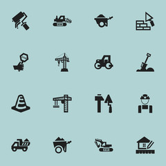 Set Of 16 Editable Building Icons. Includes Symbols Such As Handcart , Construction Tools, Trolley. Can Be Used For Web, Mobile, UI And Infographic Design.