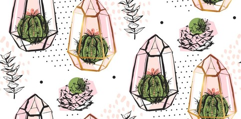 Hand drawn vector abstract seamless pattern with golden terrarium,polka dots texture and cacti plants in pastel colors isolated on white bakground.Design for decoration,fashion,fabric,wrapping paper