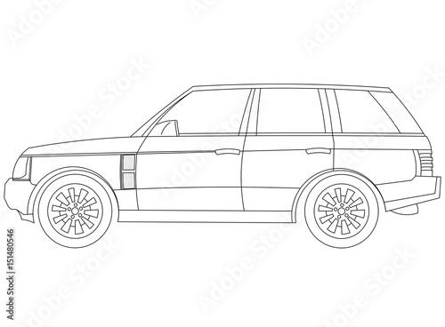 Car blueprint - isolated