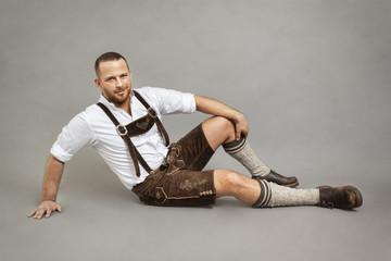 man in bavarian traditional lederhosen