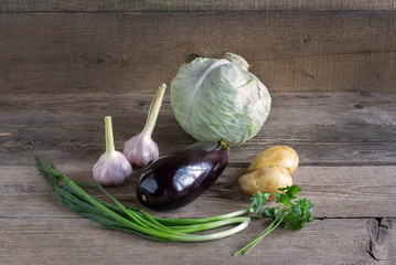 Vegetables on the wood background