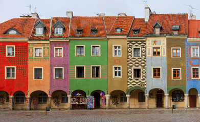 Wall Mural - view of crooked medieval houses on the central market square in Poznan, PolandPoznan, Poland