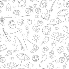 Seamless pattern on the theme of summer camp and vacations, simple contour icons, black contour on white background