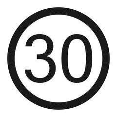 Maximum speed limit 30 sign line icon
