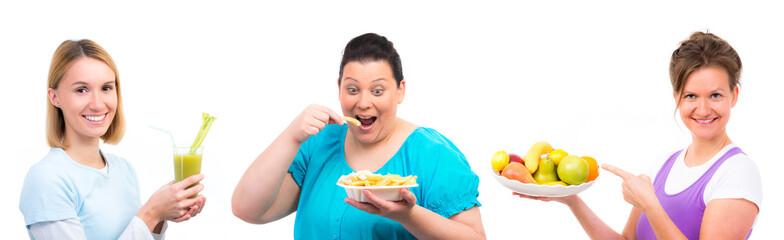 übergewichtige frau kann sich nicht an die gesunde ernährung halten